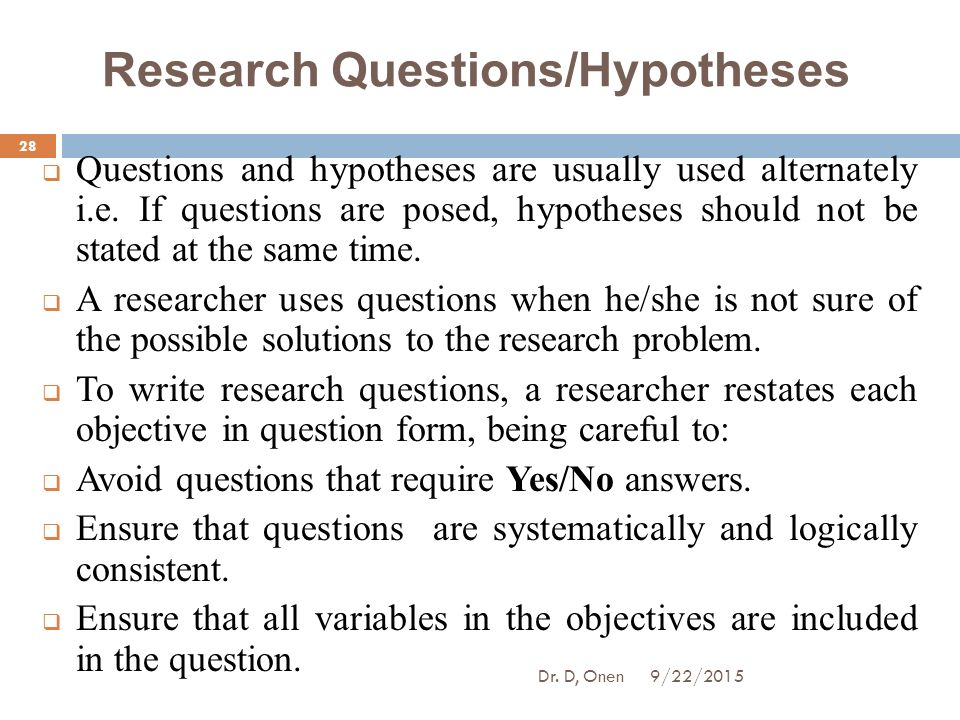 research questions hypotheses This lesson discusses the relationships of research questions, hypothesis, and variables in a research study proposal dr wallace is an associate.