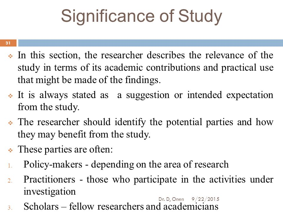 significance of a study