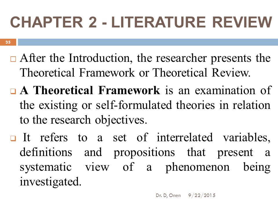 the literature review presents