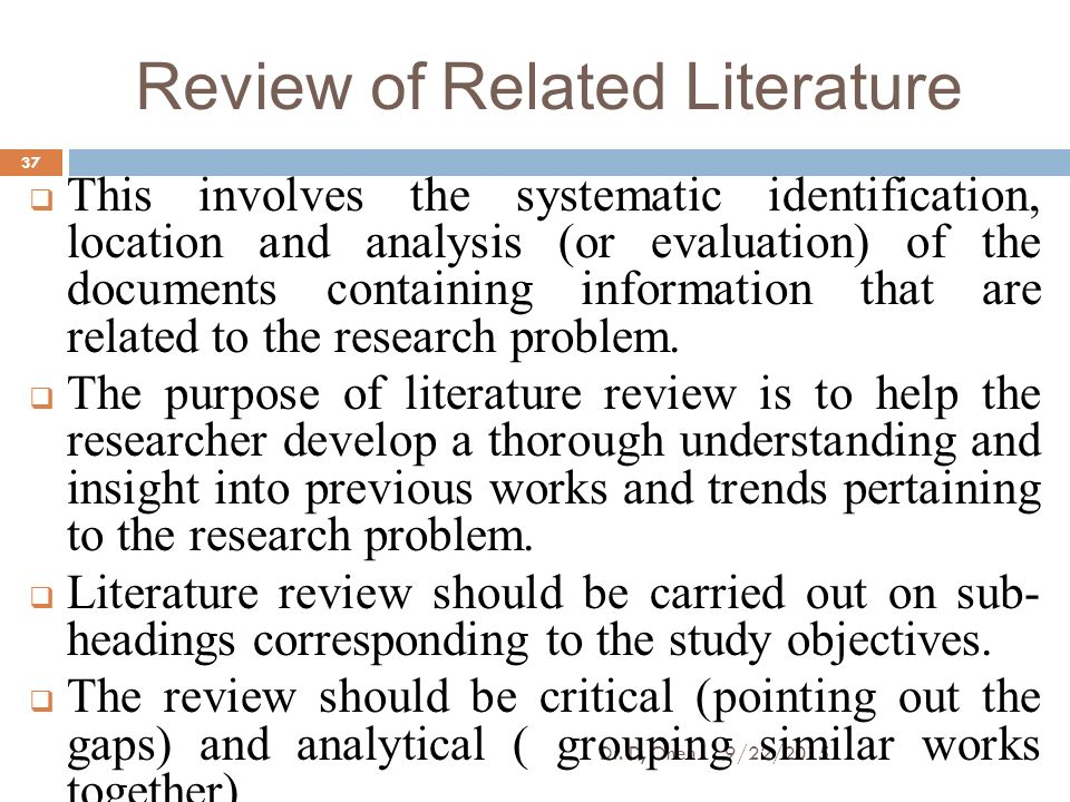 problem and review of related literature A critical review ofliterature: understanding bullying behaviors ofchildren by review of literature on bulling behaviors will help combat against these behaviors.