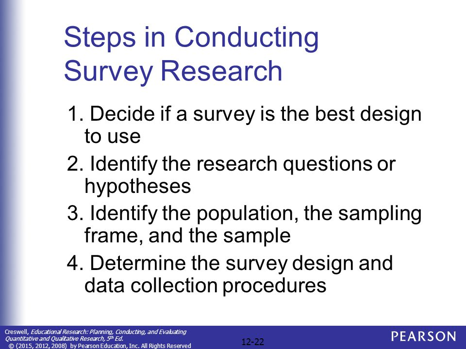 conducting survey research A field of applied statistics of human research surveys, survey methodology studies the sampling of  a test-retest reliability entails conducting the same.