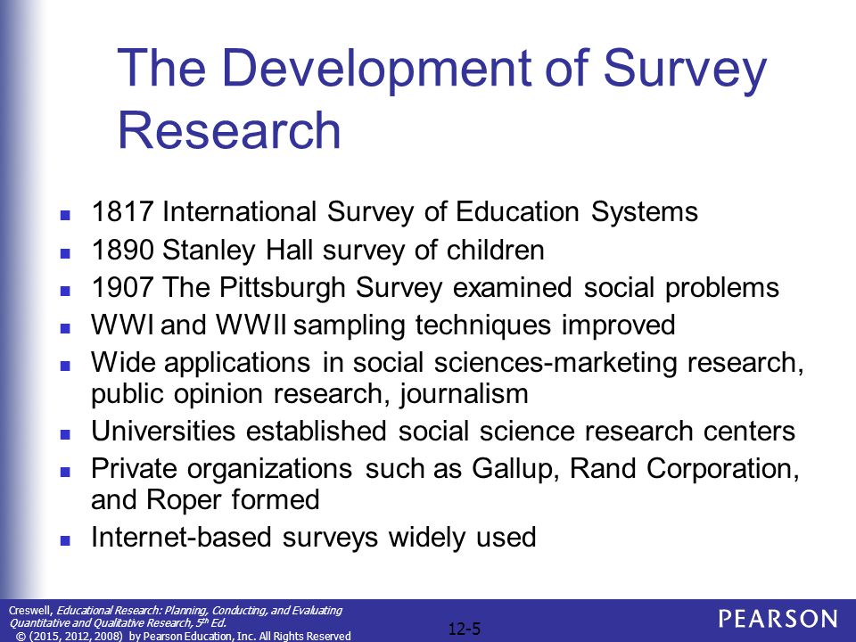 educational survey research The national center for education research (ncer) supports rigorous, scientifically based research that addresses the nation's most pressing education needs, from early childhood to postgraduate studies ncer supports research through competitive grants to research and development centers, candidates for doctoral training in the education sciences and small businesses.
