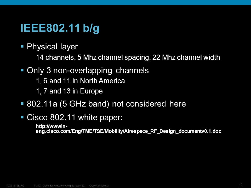 IEEE802.11 b/g Physical layer Only 3 non-overlapping channels