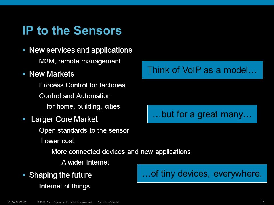 IP to the Sensors Think of VoIP as a model… …but for a great many…