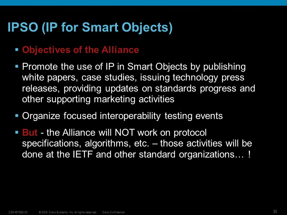 IPSO (IP for Smart Objects)