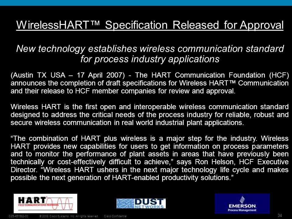 WirelessHART™ Specification Released for Approval