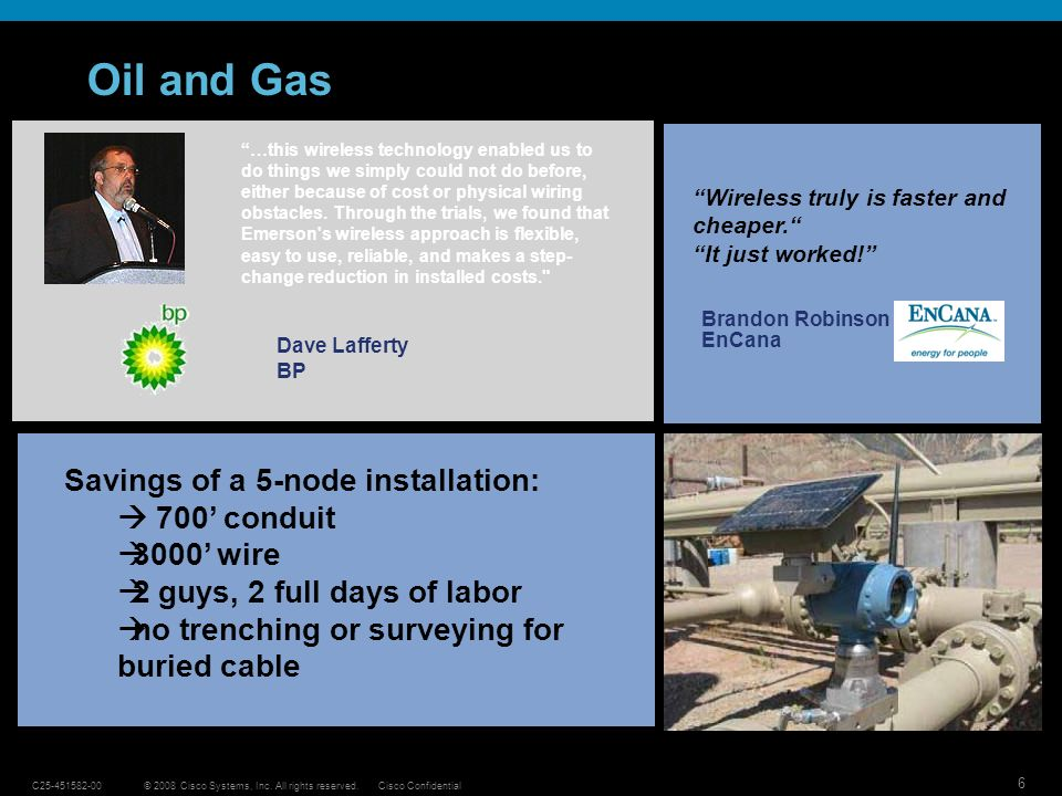 Oil and Gas Savings of a 5-node installation:  700' conduit