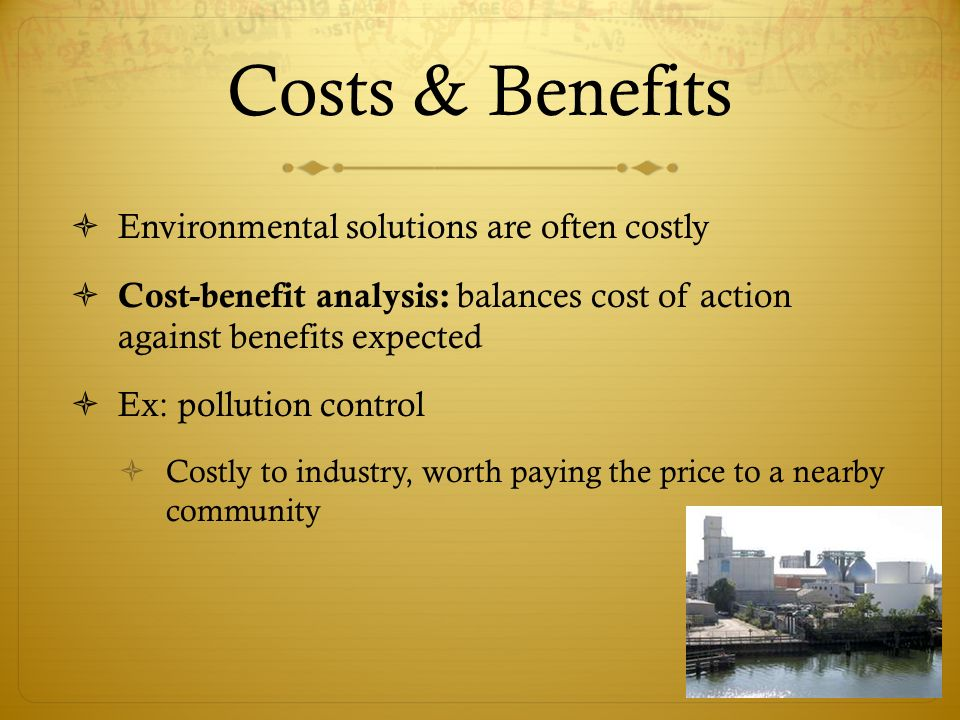 the costs and benefits of pollution control programs for the environment The clean air act (caa)  learn more about air pollution, air pollution programs, and what you can do on epa's learn about air directory page studies of clean air act benefits and costs contact us to ask a question, provide feedback, or report a problem discover accessibility.
