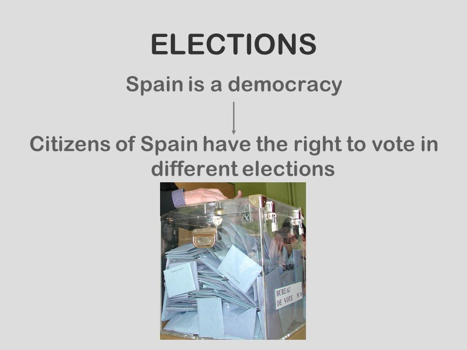 Citizens of Spain have the right to vote in different elections