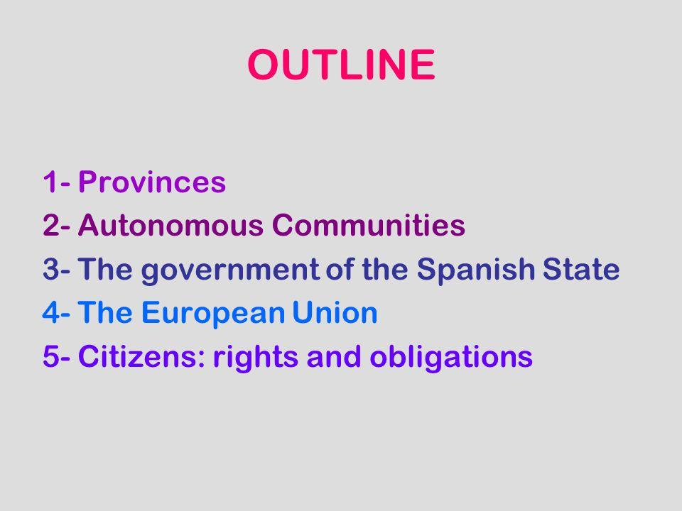 OUTLINE 1- Provinces 2- Autonomous Communities