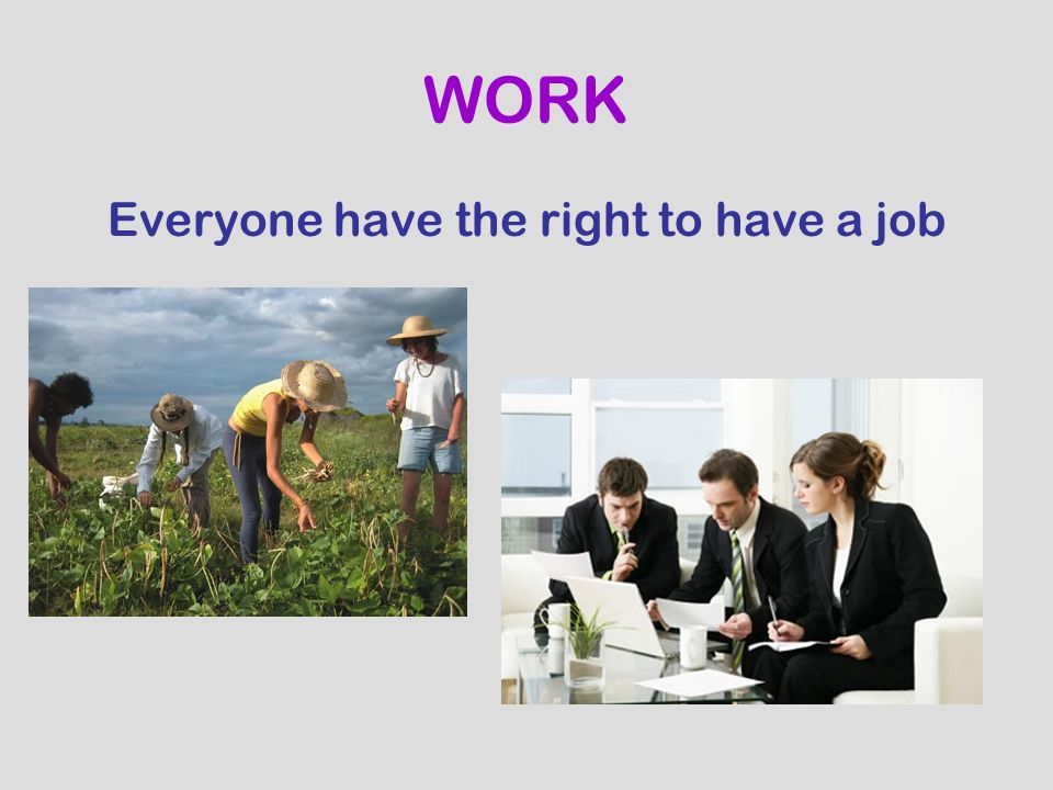 Everyone have the right to have a job