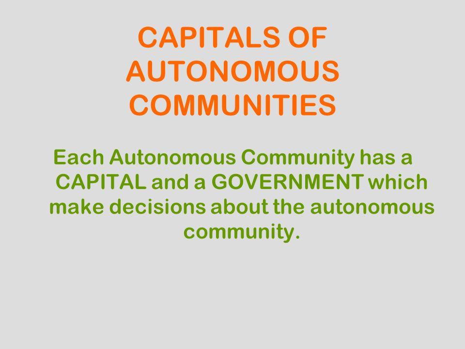 CAPITALS OF AUTONOMOUS COMMUNITIES