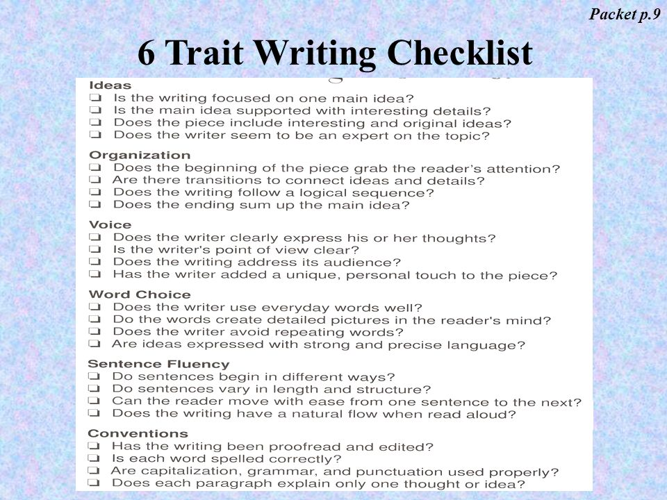 Powerpoint Presentation for Teaching Six +1 Traits of Writing