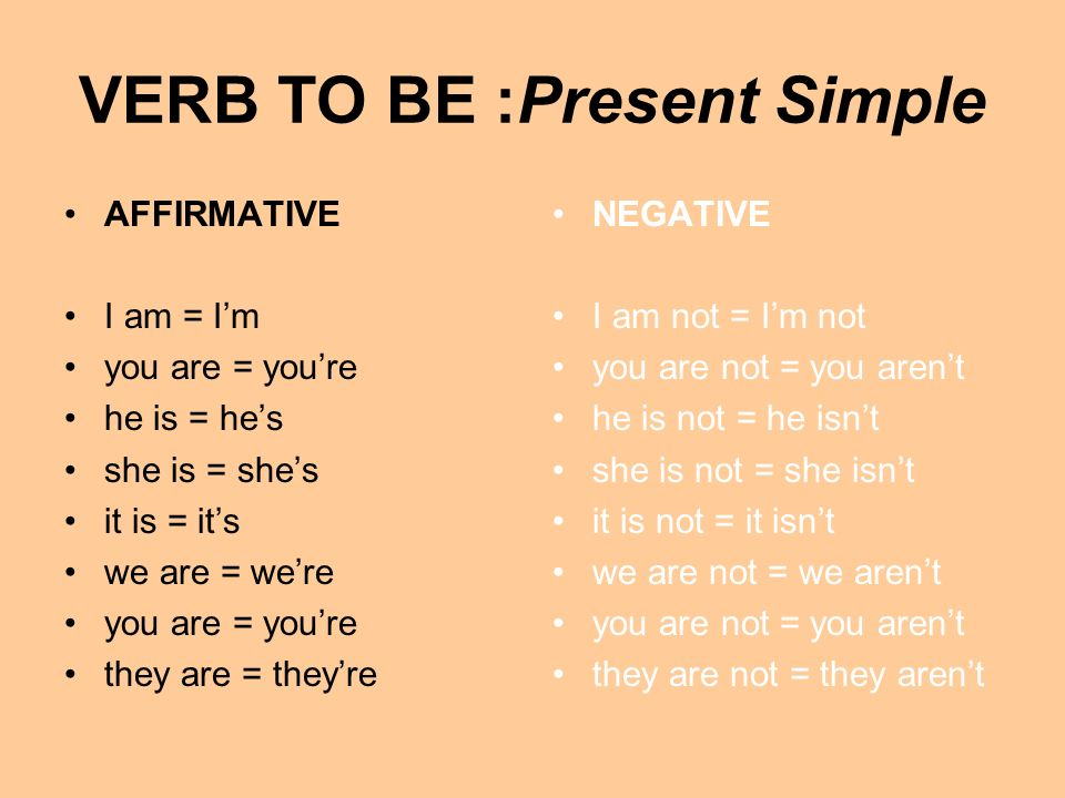VERB TO BE :Present Simple