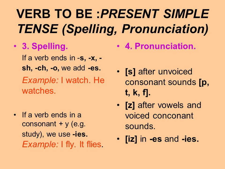 VERB TO BE :PRESENT SIMPLE TENSE (Spelling, Pronunciation)
