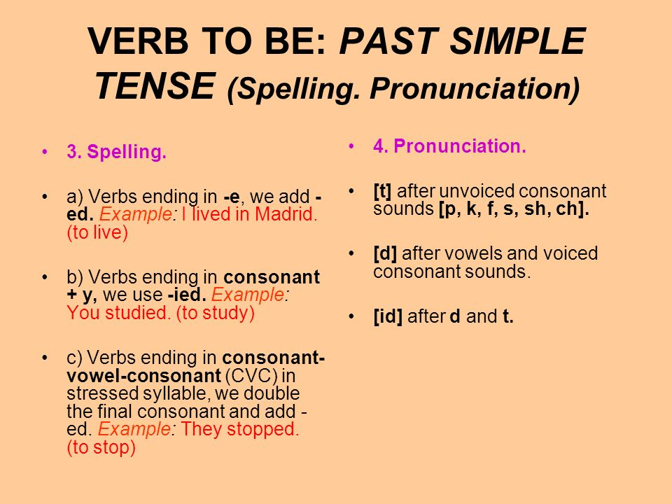 VERB TO BE: PAST SIMPLE TENSE (Spelling. Pronunciation)