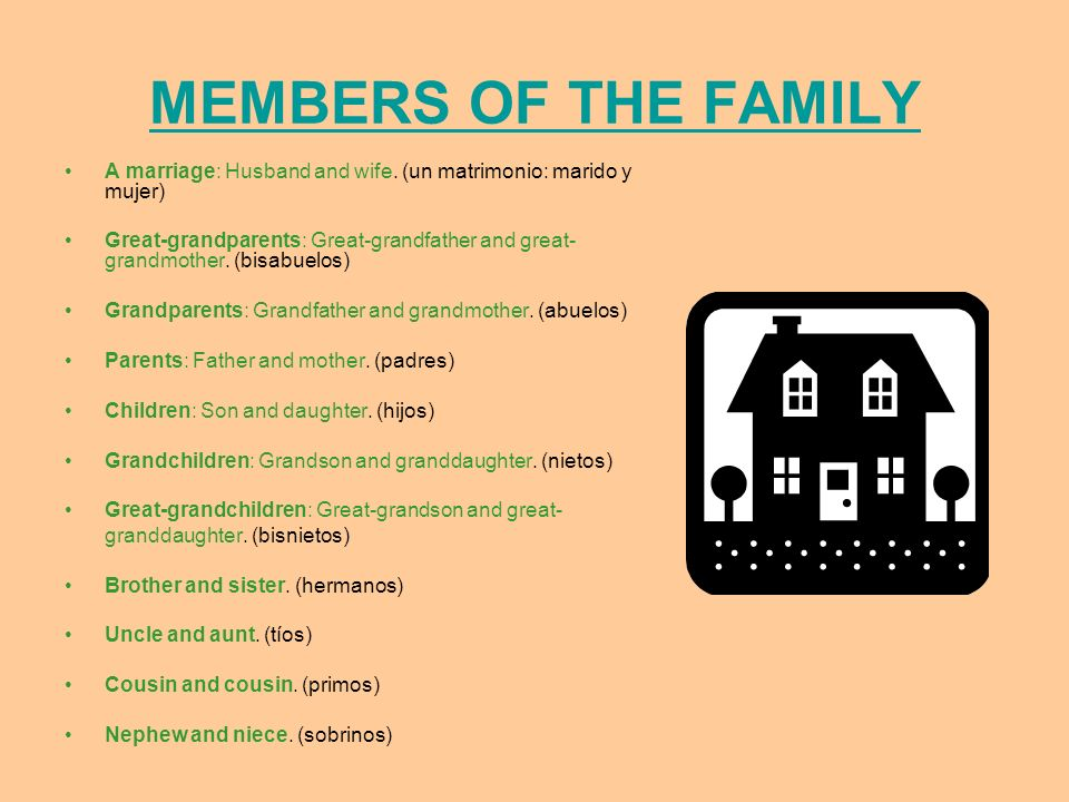 MEMBERS OF THE FAMILY A marriage: Husband and wife. (un matrimonio: marido y mujer)