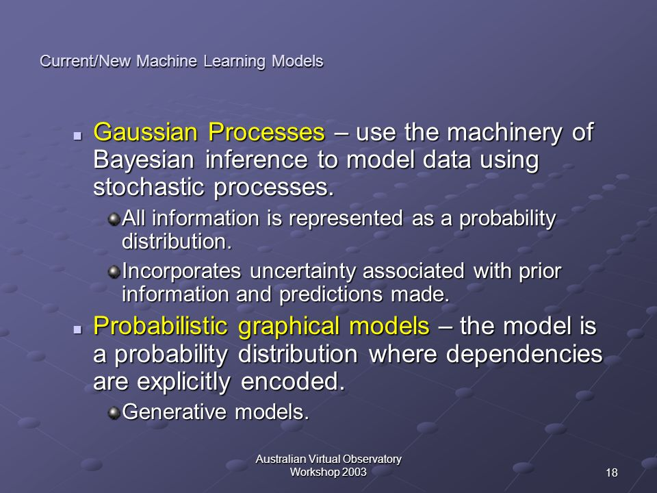 Current/New Machine Learning Models