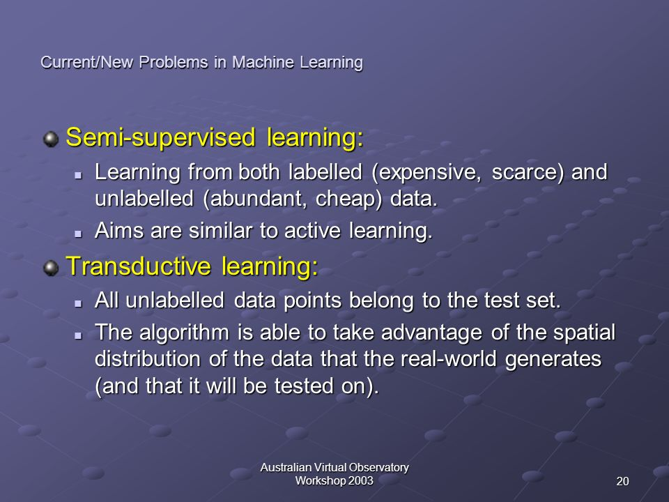 Current/New Problems in Machine Learning