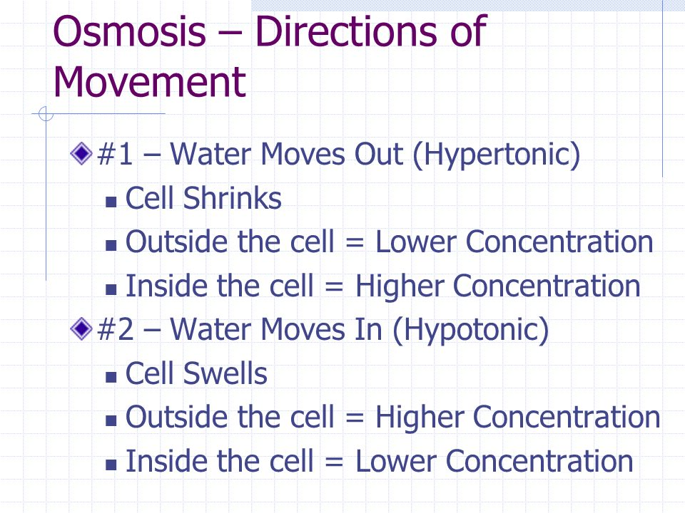 Osmosis – Directions of Movement