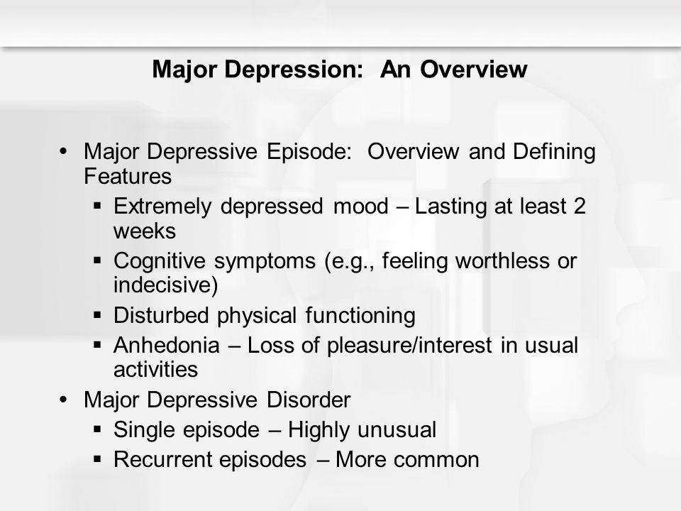 an overview of types of depressive conditions In the past three decades, about 250 controlled and comparative studies have examined the efficacy of psychological treatments for depression in adults.