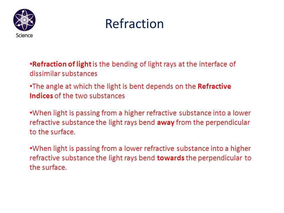 Refraction Refraction of light is the bending of light rays at the interface of dissimilar substances.