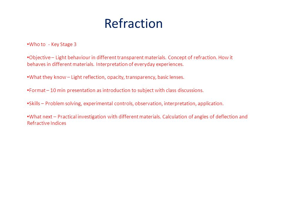 Refraction Who to - Key Stage 3