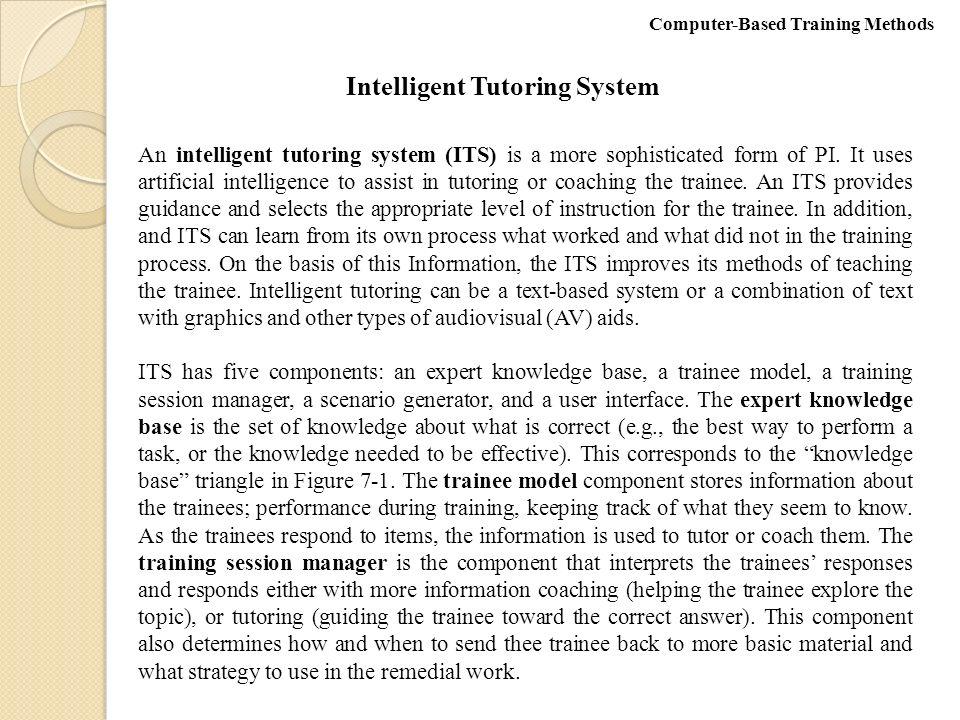 intelligent tutoring system thesis Entitled intelligent tutoring systems for skill acquisition 13 intelligent tutoring systems 154 thesis statement.