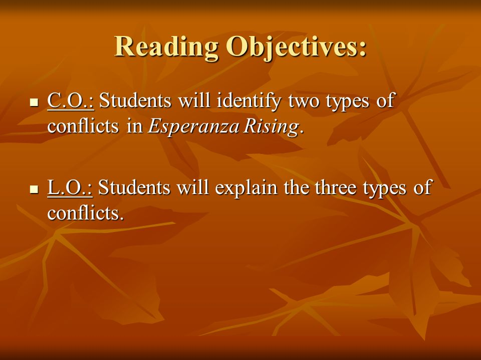 Reading Objectives: C.O.: Students will identify two types of conflicts in Esperanza Rising.