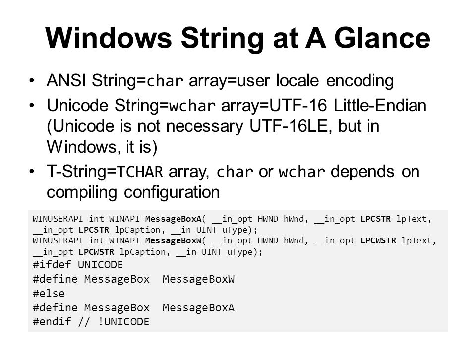 Windows String at A Glance