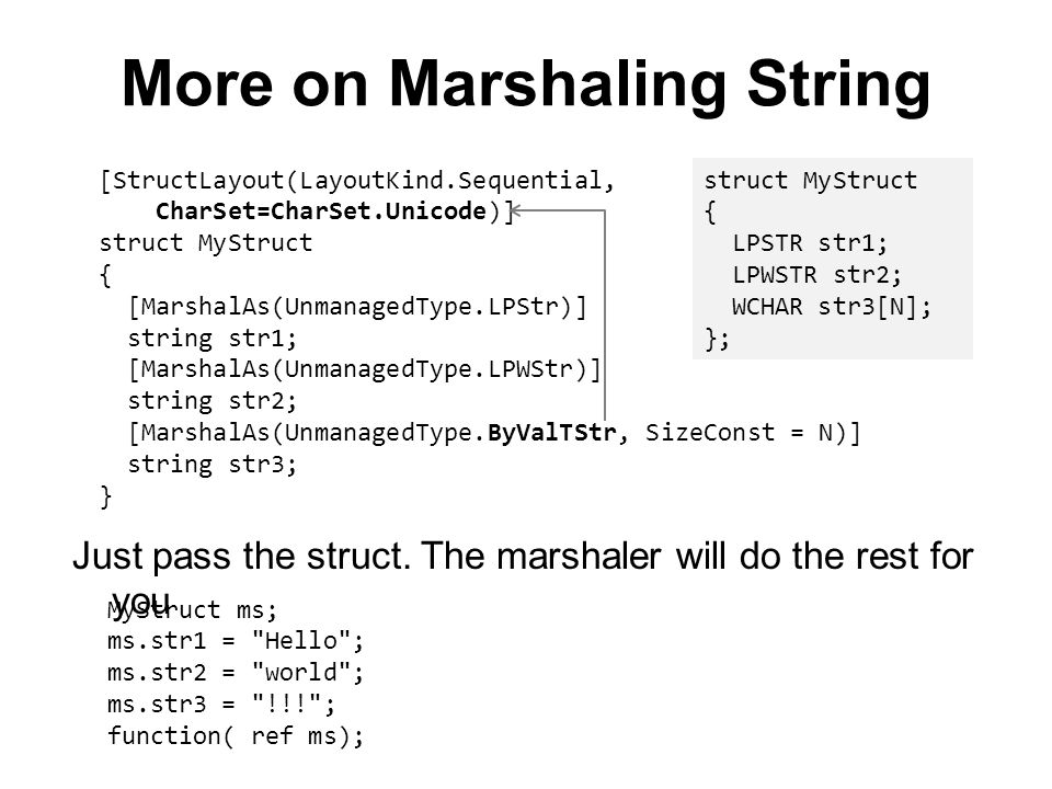 More on Marshaling String