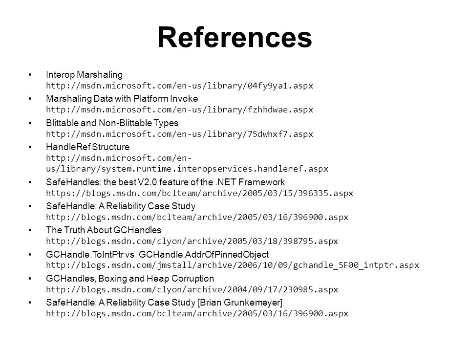 References Interop Marshaling