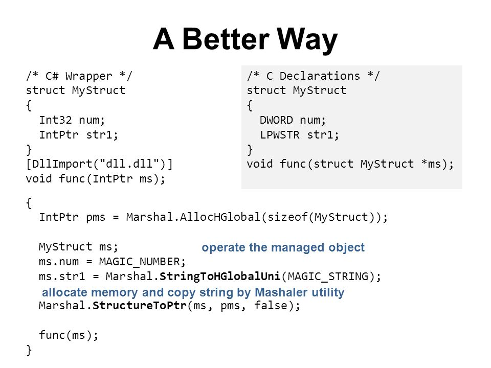 A Better Way /* C# Wrapper */ struct MyStruct { Int32 num;