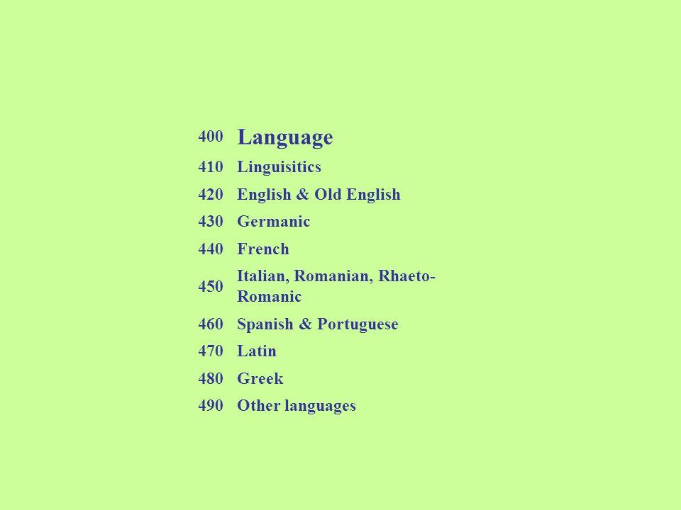 Language 400 410 Linguisitics 420 English & Old English 430 Germanic