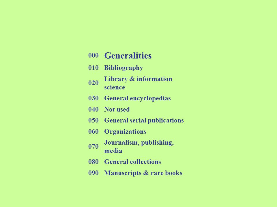 Generalities 000 010 Bibliography 020 Library & information science