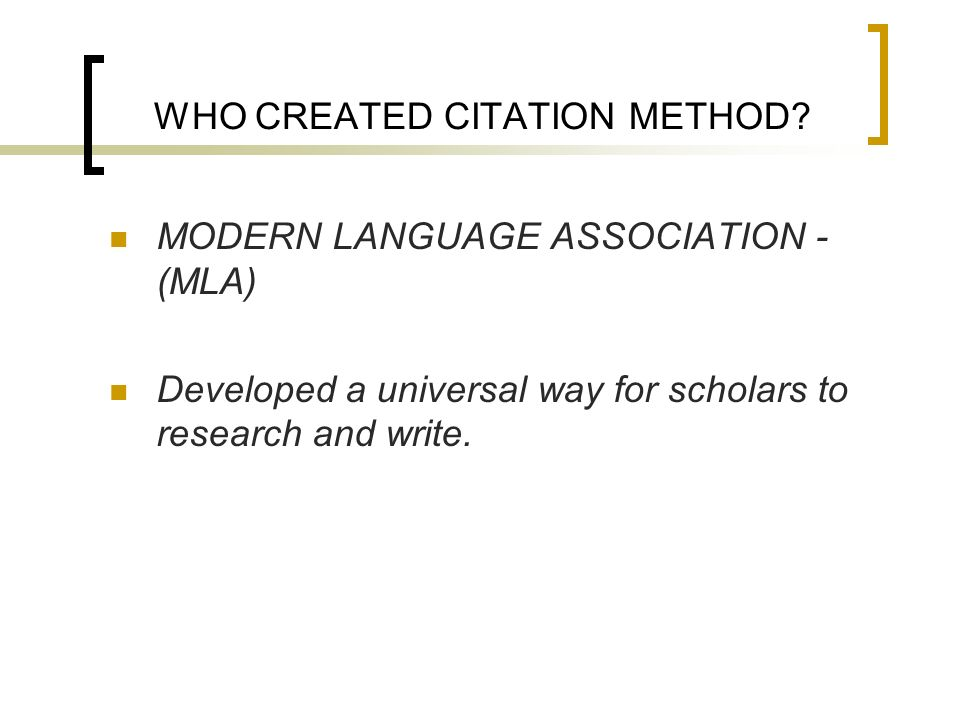 WHO CREATED CITATION METHOD