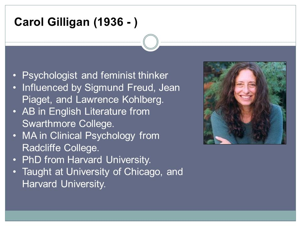 carol gilligan Discover carol gilligan famous and rare quotes share carol gilligan quotations about ethics, mothers and justice while an ethic of justice proceeds from the.