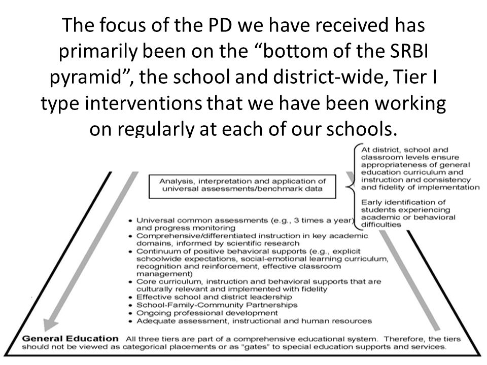 The focus of the PD we have received has primarily been on the bottom of the SRBI pyramid , the school and district-wide, Tier I type interventions that we have been working on regularly at each of our schools.