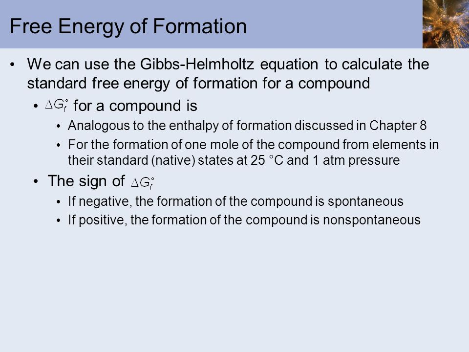 Free Energy of Formation
