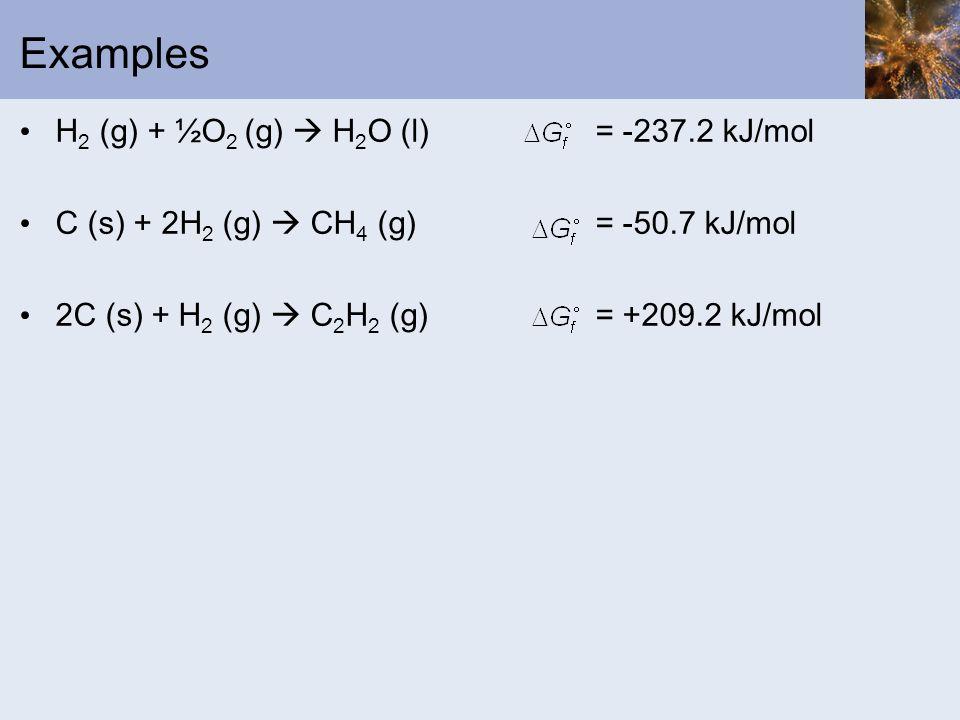 Examples H2 (g) + ½O2 (g)  H2O (l) = -237.2 kJ/mol