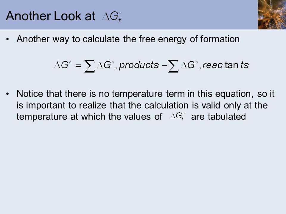 Another Look at Another way to calculate the free energy of formation