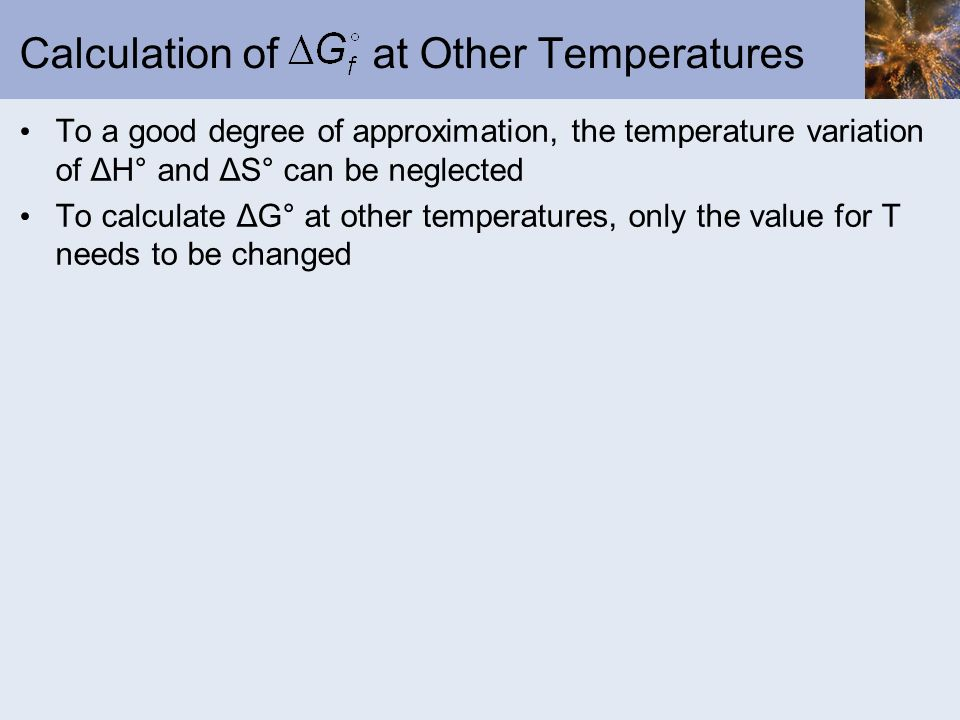 Calculation of at Other Temperatures