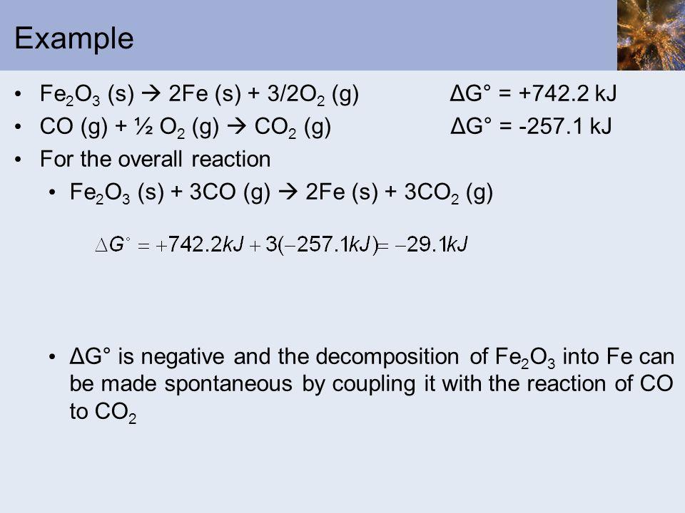 Example Fe2O3 (s)  2Fe (s) + 3/2O2 (g) ΔG° = +742.2 kJ