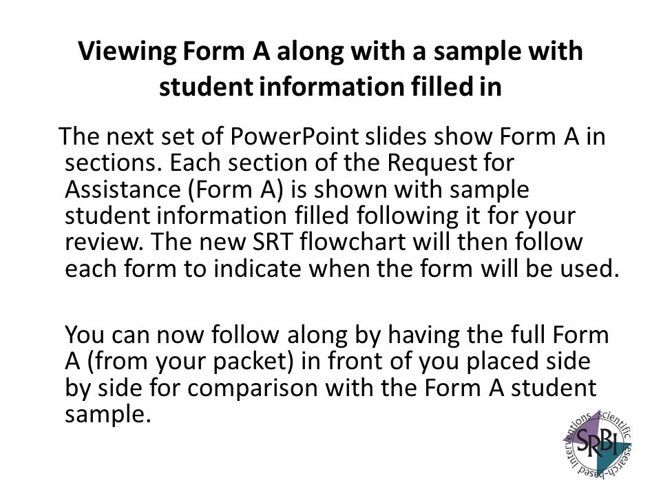 Viewing Form A along with a sample with student information filled in