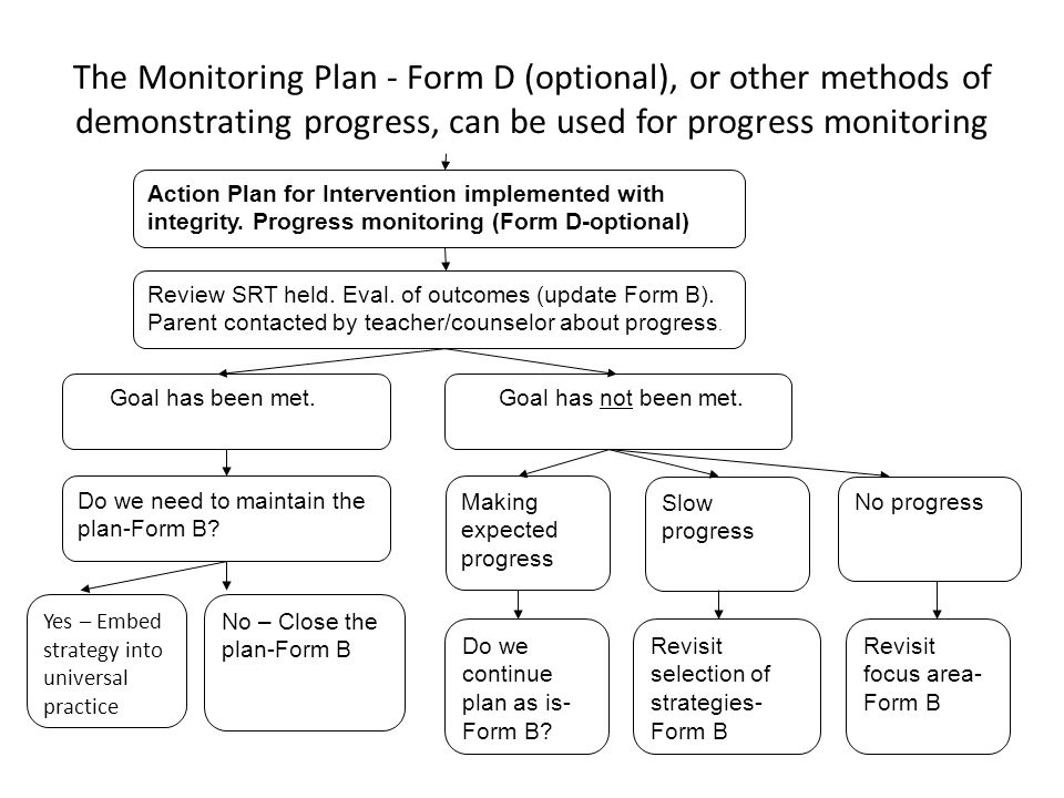 The Monitoring Plan - Form D (optional), or other methods of demonstrating progress, can be used for progress monitoring