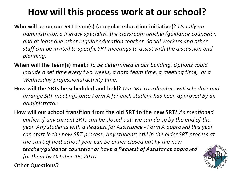 How will this process work at our school