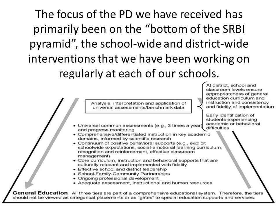 The focus of the PD we have received has primarily been on the bottom of the SRBI pyramid , the school-wide and district-wide interventions that we have been working on regularly at each of our schools.