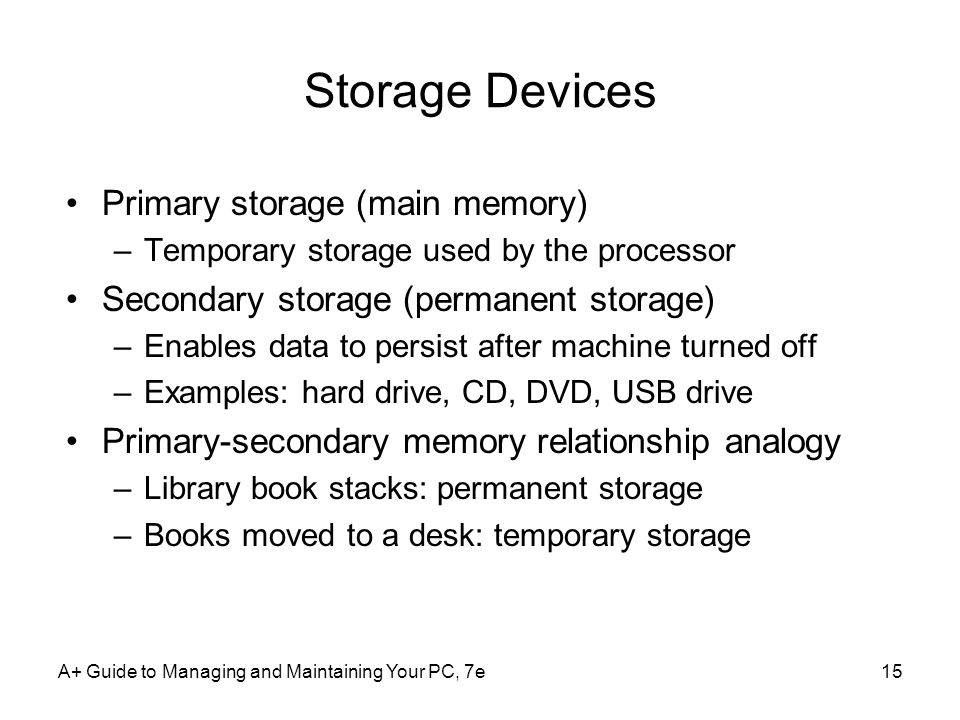 Storage Devices Primary storage (main memory)