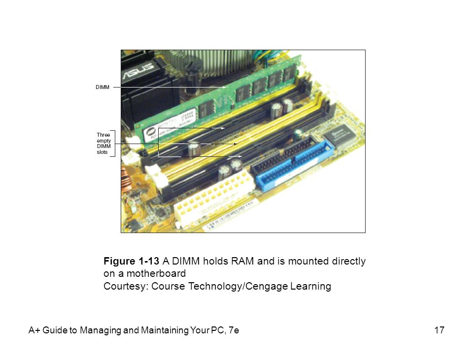 Figure 1-13 A DIMM holds RAM and is mounted directly on a motherboard