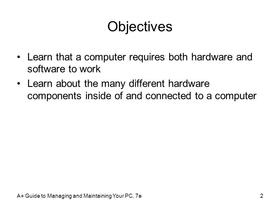 Objectives Learn that a computer requires both hardware and software to work.
